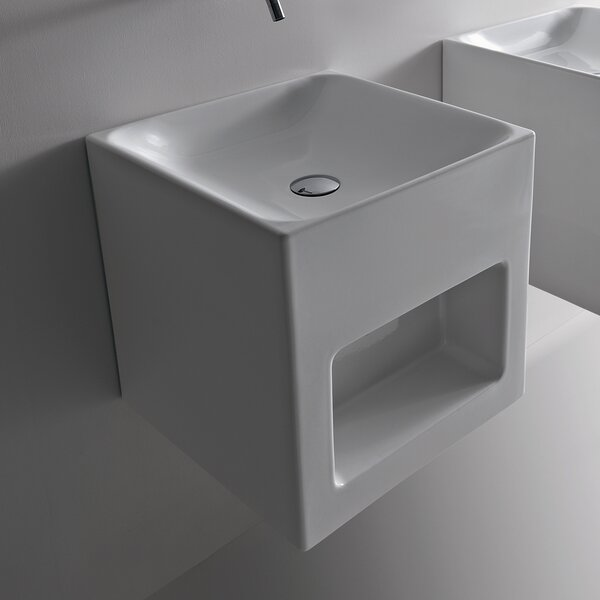 Cento Ceramic 18 Wall Mount Bathroom Sink by WS Bath Collections