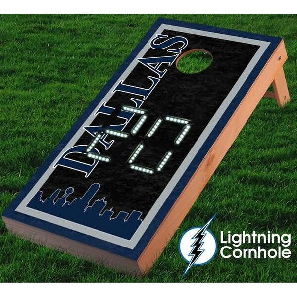 Electronic Scoring Dallas Skyline Cornhole Board by Lightning Cornhole