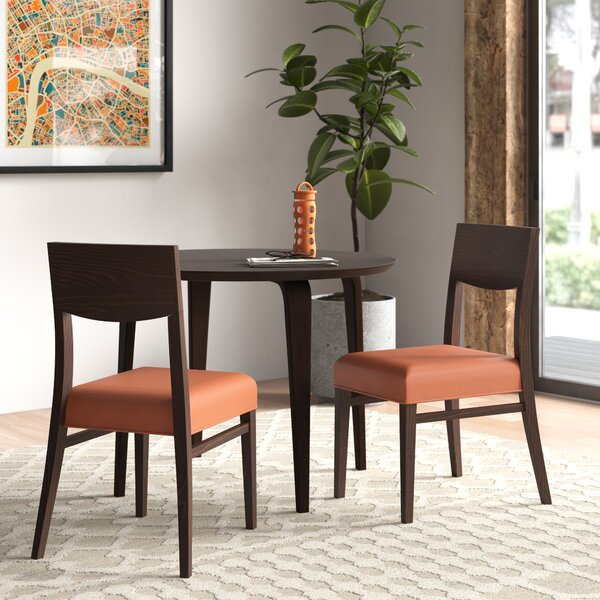 Solid Wood Solid Back Side Chair in Dark Walnut (Set of 2) by Adriano Adriano