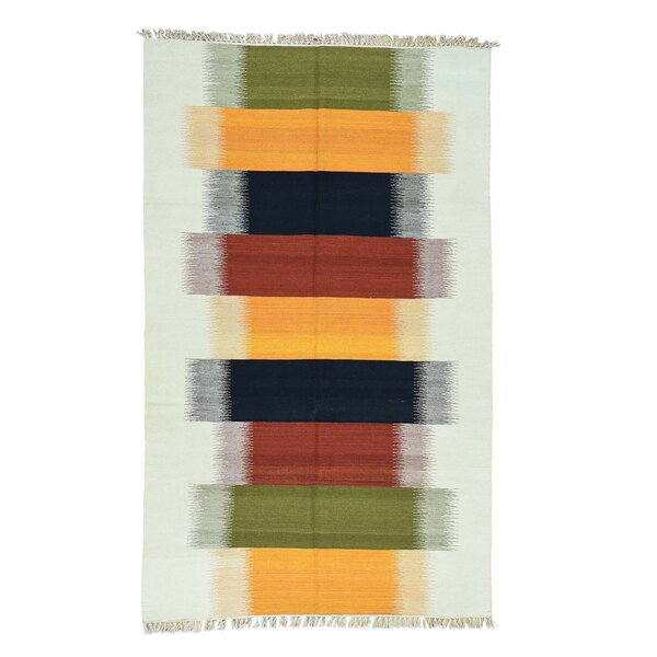Kilim Flat Weave Hand-Knotted Brown/Beige Area Rug by Bloomsbury Market
