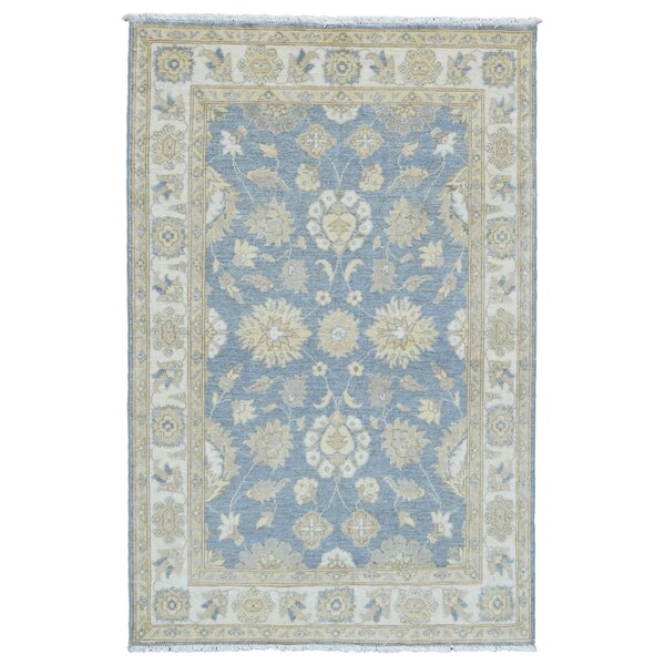 One-of-a-Kind Baron Oriental Hand-Knotted Wool Blue Area Rug by Isabelline