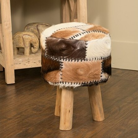 Mabel Cowhide Accent Stool by Jeffan
