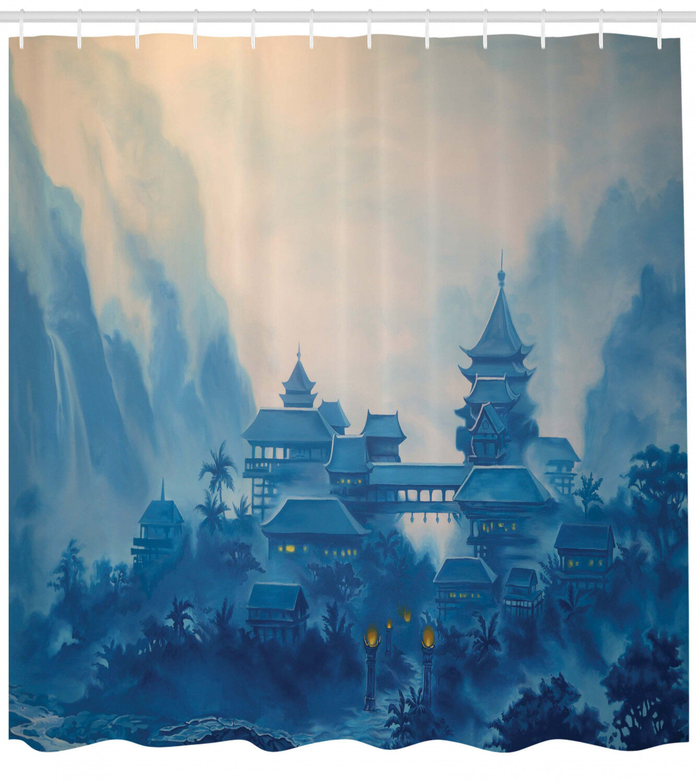 Latitude Run Nash Chinese Temple Paint Mist With Lanterns At Night Artsy Oriental Religious Image Shower Curtain Set Wayfair