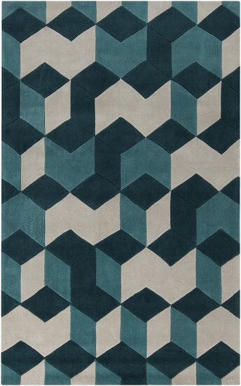 Conroy Teal Blue/Teal Area Rug by Wrought Studio