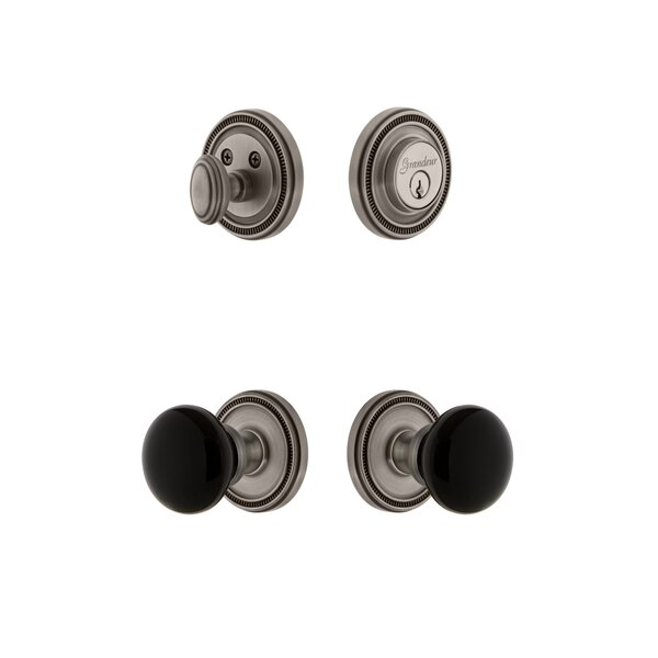 Soleil Rosette Single Cylinder Knob Combo Pack with Coventry Knob and matching Deadbolt by Grandeur