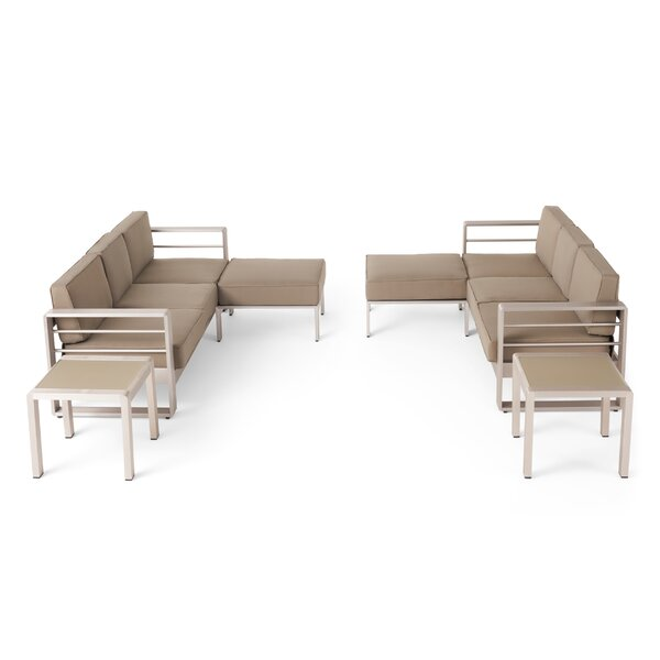 Eaker Outdoor Aluminum 6 Piece Sectional Seating Group with Cushions by Orren Ellis