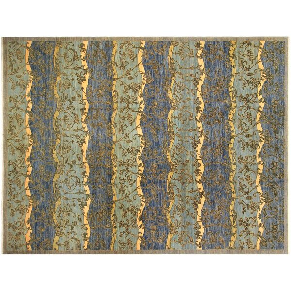 Xenos Hand-Knotted Wool Blue Area Rug by Astoria Grand