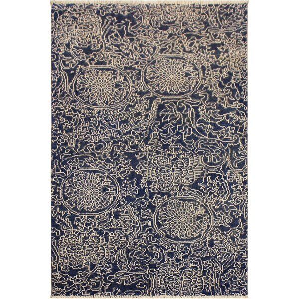 One-of-a-Kind Imani Hand Knotted Wool Navy/Ivory Area Rug by Mercer41