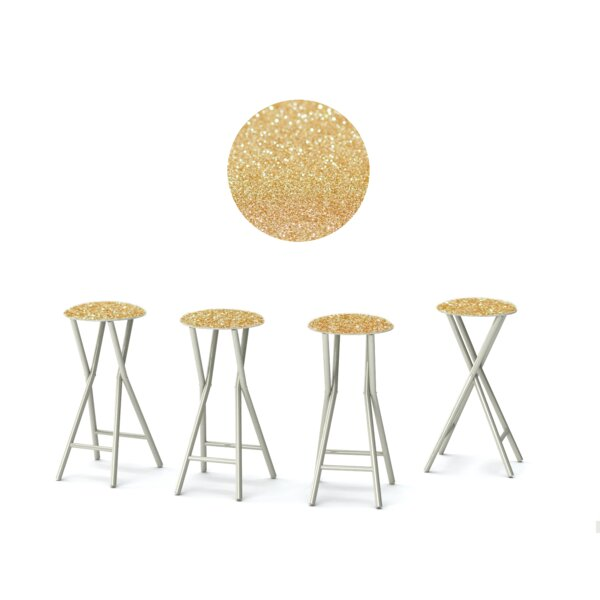 Glitter Me Gold 30'' Patio Bar Stool with Cushion (Set of 4) by Best of Times