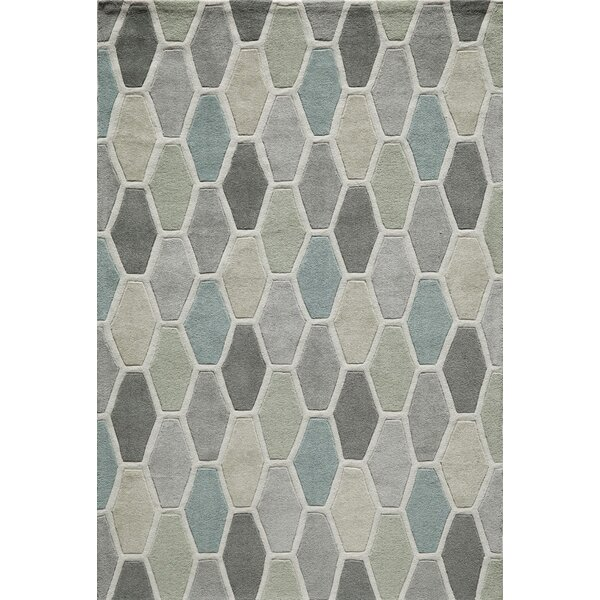 Wills Hand-Tufted Gray/Blue Area Rug by Wrought Studio