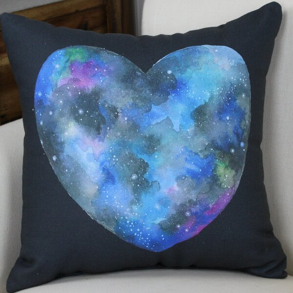 Single Cosmic Heart Throw Pillow by One Bella Casa