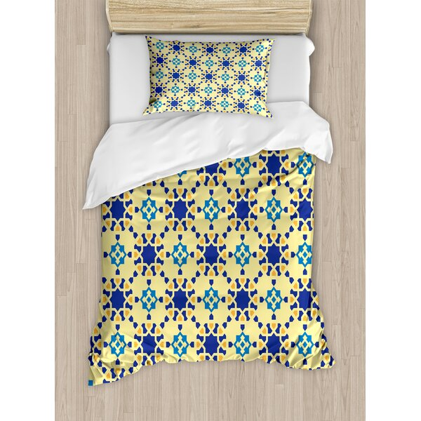 Ethnic Moroccan Ceramic Motif with Arabesque Persian Folk Effects Antique Design Duvet Set by Ambesonne