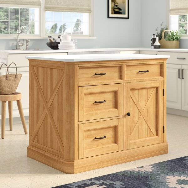 Burbury Country Lodge Kitchen Island Marble by Loon Peak