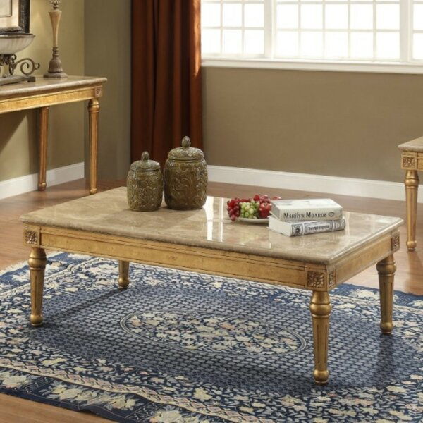 Amaris Traditional Rectangular Wood And Marble Coffee Table By Astoria Grand