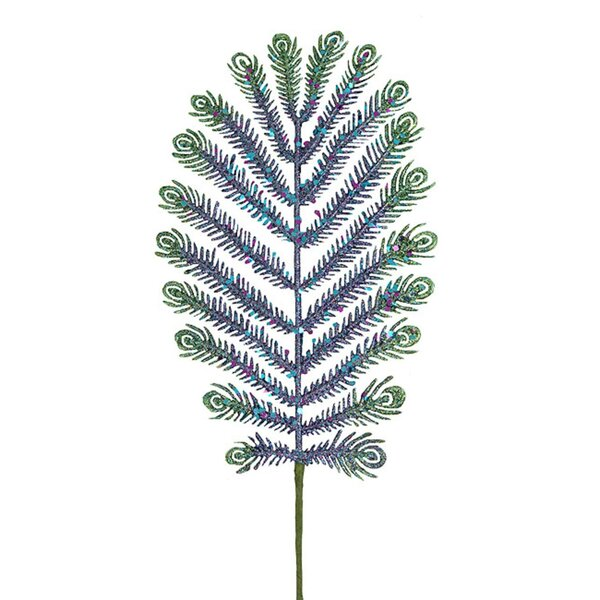 Glitter Peacock Feather Branch by Bay Isle Home