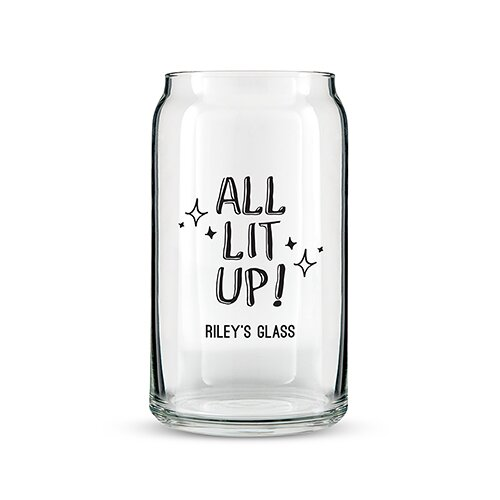 All Lit Up! Can 16 oz. Beer Glass by Weddingstar