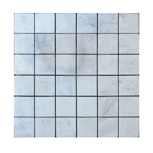 Polished 2 x 2 Natural Stone Mosaic Tile in Lusso Carrara by QDI Surfaces