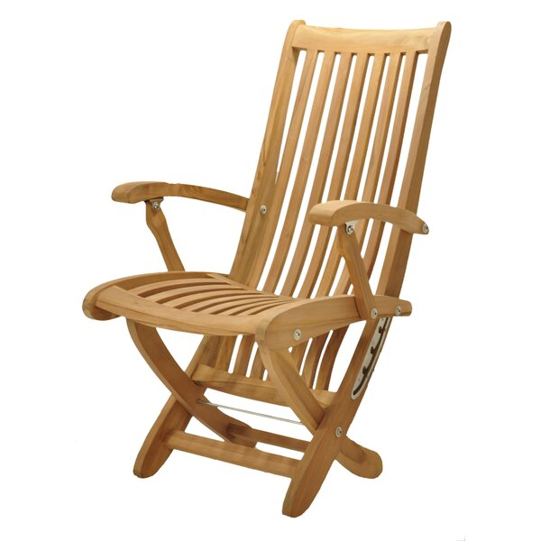 Mastropietro Folding Teak Patio Dining Chair by Rosecliff Heights