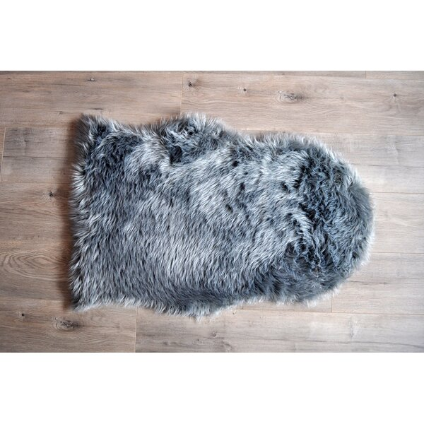 Faux Sheepskin Gray Area Rug by Kroma Carpets