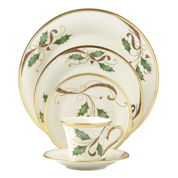 Holiday Nouveau Gold Bone China 5 Piece Place Setting, Service for 1 by Lenox