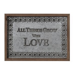 'All Things Grow with Love' Framed Textual Art on Metal by August Grove