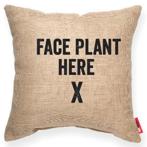Expressive Face Plant Decorative Burlap Throw Pillow by Posh365