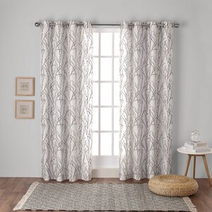 Baillons Nature/Floral Semi-Sheer Grommet Curtain Panels (Set of 2)
