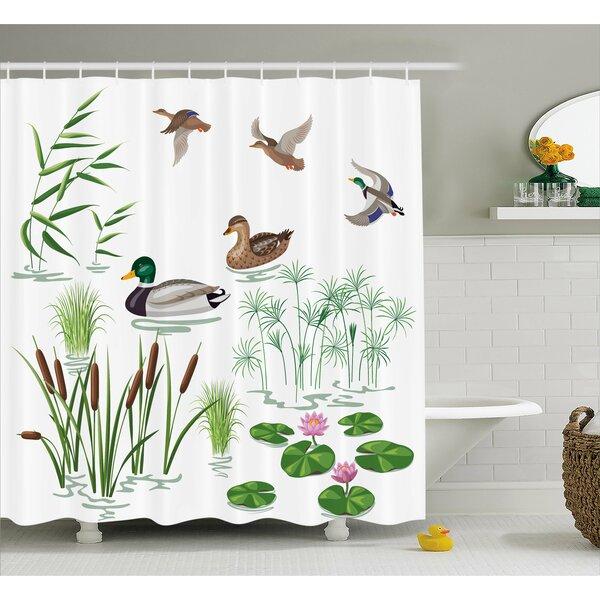 Winston Porter Oak Lake Animals Plants Lily Shower Curtain