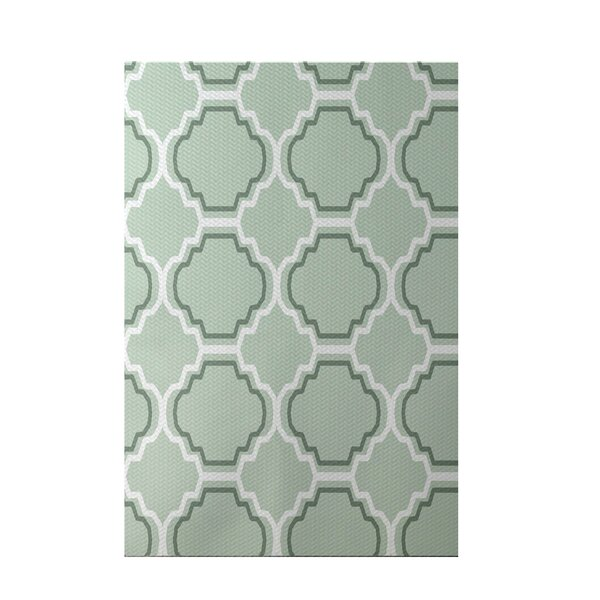 Road to Morocco Geometric Print Green Pint Indoor/Outdoor Area Rug by e by design