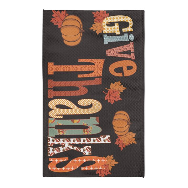Give Thanks Black/Orange Area Rug by The Holiday A