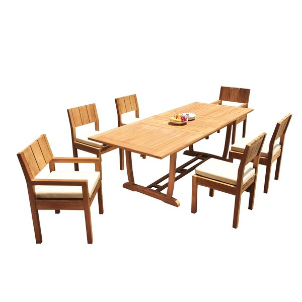 Lathrop 7 Piece Teak Dining Set by Rosecliff Heights