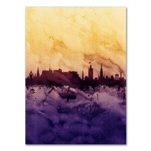 'Edinburgh Skyline Tall Yellow' Graphic Art on Wrapped Canvas by Ivy Bronx