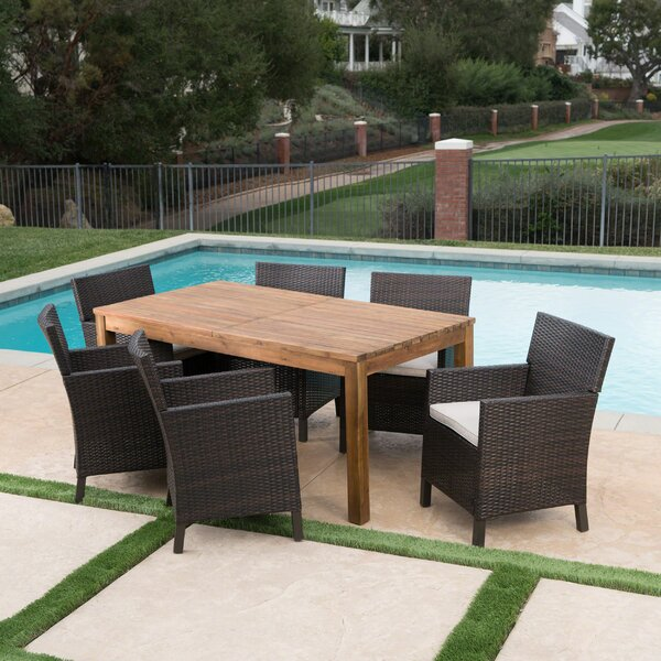 Labrosse 7 Piece Extendable Dining Set with Cushions by Laurel Foundry Modern Farmhouse