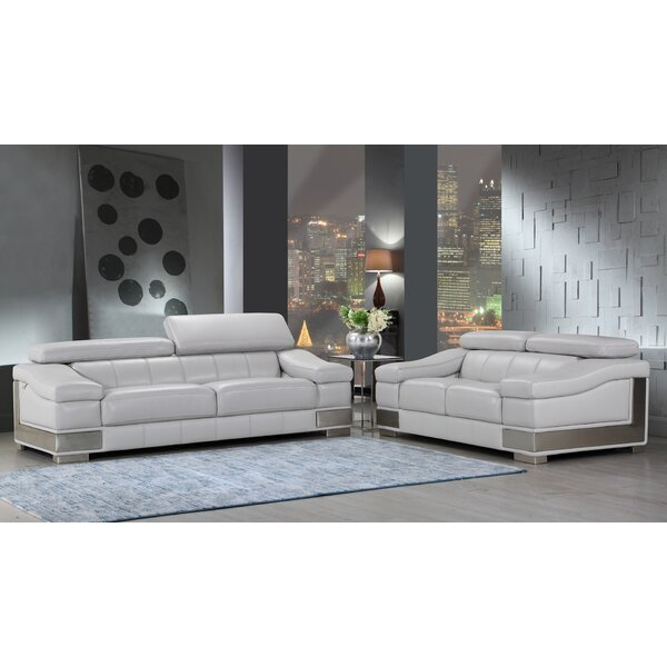 Judith Luxury Italian Leather 2 Piece Living Room Set by Orren Ellis