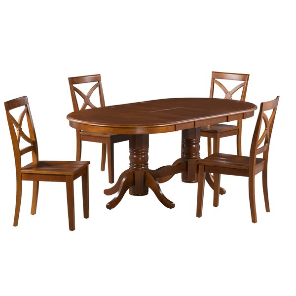Rylee 5 Piece Extendable Solid Wood Dining Set by Alcott Hill
