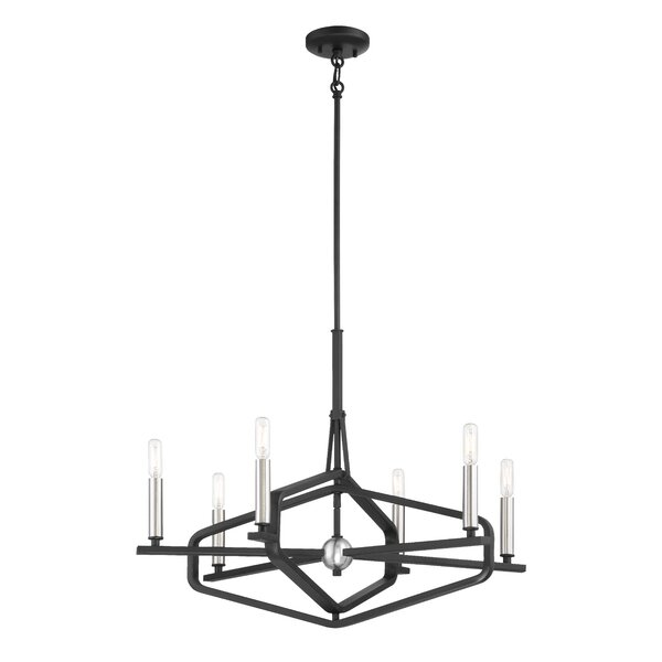 Zula 6 - Light Candle Style Geometric Chandelier By Gracie Oaks