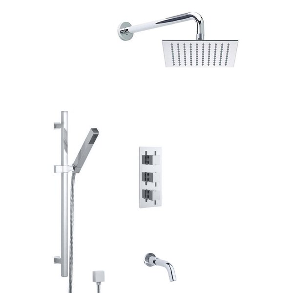 Liverpool Wall Mount Rainfall Thermostatic Complete Shower System with Rough-in Valve by FontanaShowers FontanaShowers