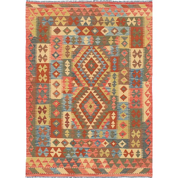 One-of-a-Kind Maryalice Handmade Wool Blue/Orange Area Rug by Isabelline