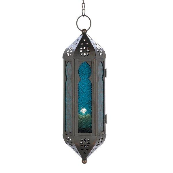 Cobalt Cathedral Hanging Lantern by Bungalow Rose