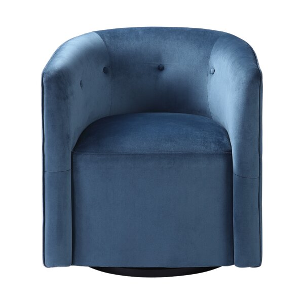 Holliston Swivel Barrel Chair by Everly Quinn