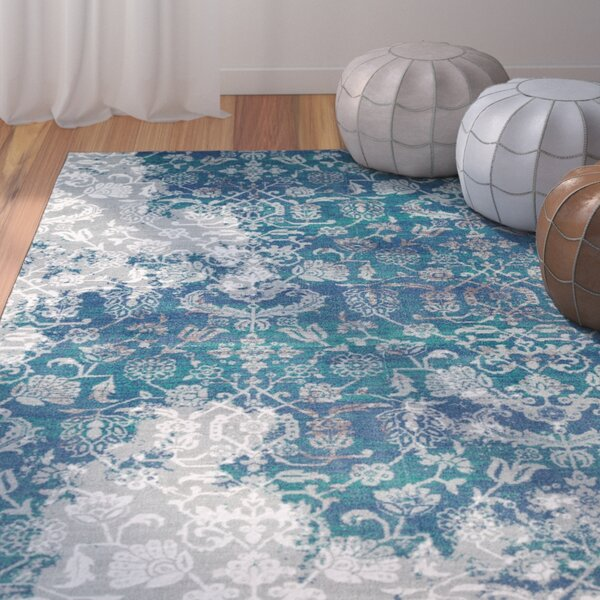 Asherman Aqua/Blue Area Rug by Bungalow Rose