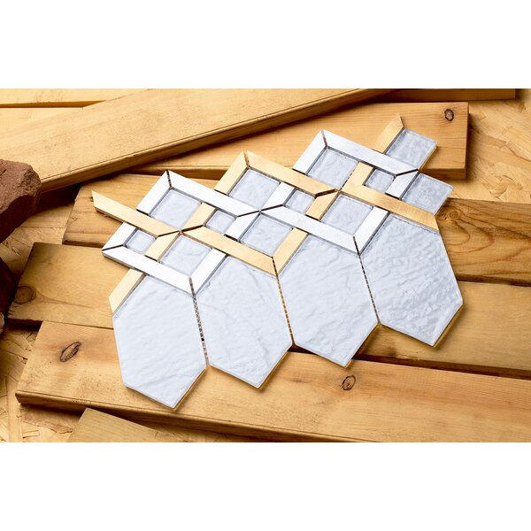 Hexa 10.24 x 12.72 Mixed Material Mosaic Tile in White/Gold by Mirrella