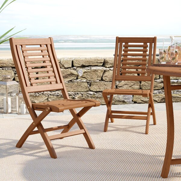 Roseland Folding Patio Side Chair (Set of 2) by Beachcrest Home