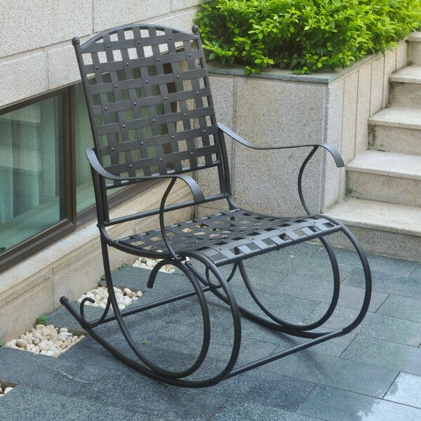 Schilling Nailhead Iron Patio Rocking Chair by Alcott Hill