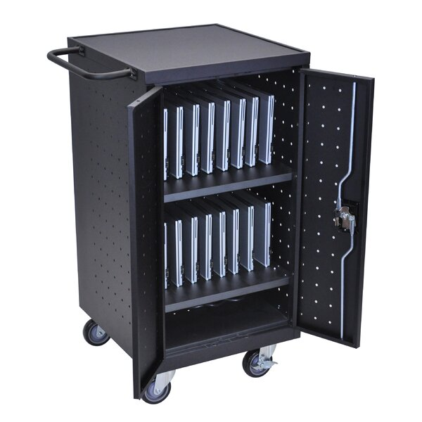 18-Compartment Laptop Charging Cart by Luxor