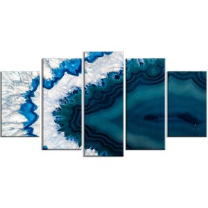 'Blue Brazilian Geode' 5 Piece Graphic Art on Wrapped Canvas Set by Design Art
