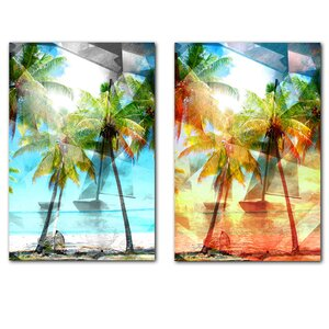 Modern Paradise 2 Piece Graphic Art on Canvas Set by Ready2hangart
