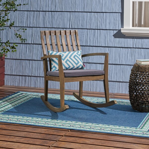 Matheny Outdoor Rocking Chair with Cushions by Millwood Pines