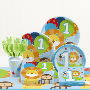 81 Piece One Is Fun Boy 1st Birthday Paper/Plastic Tableware Set By Creative Converting
