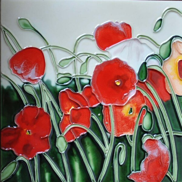 Poppy Flower Tile Wall Decor by Continental Art Center